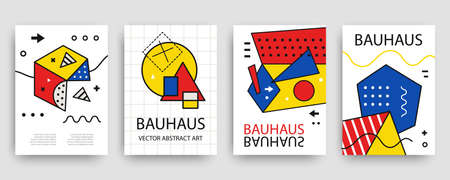 Retro geometric bauhaus, memphis covers templates set Stock Illustratie