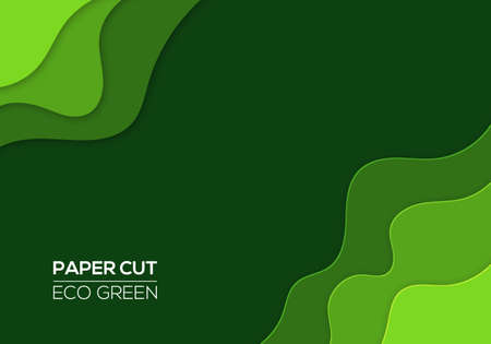 Modern 3d paper cut art template with abstract curve shapes, green color. Eco design concept background for flyers, bunners, presentations and posters. Vector illustration  イラスト・ベクター素材