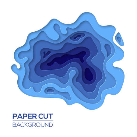 Modern paper cut art design template with cartoon abstract waves splash, isolated on white. Background element for flyers, banners, presentations and posters. Vector illustration