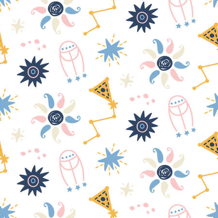 Outer Space childish seamless pattern with stars, comets, cosmic elements. Creative scandinavian nursery background for kids apparel, textile, fabric, wrapping paper, wallpaper. Vector illustration Illustration