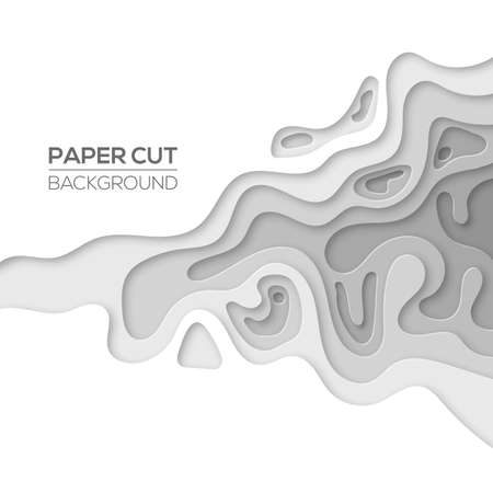 Modern paper cut art design template with cartoon abstract grey gradient splash, isolated on white. Background element for flyers, banners, presentations and posters. Vector illustration Ilustração