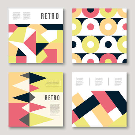 Modern colorful abstract geometric covers set. Minimal creative templates design. Cool paper mosaic shapes. Poster background composition. Vector illustration. Stock Illustratie