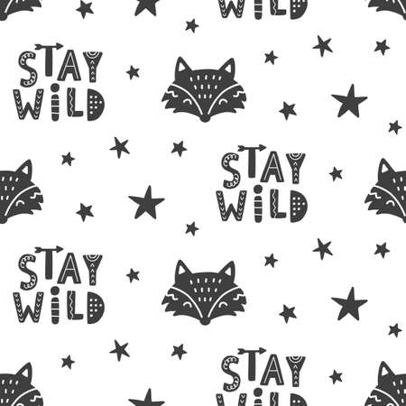 Stay Wild. Nursery Fox Seamless Pattern Background. Kids Hand Drawn Scandinavian Style Trendy Textile, Wallpaper, Wrapping Paper, Kids Apparel Design. Vector illustration