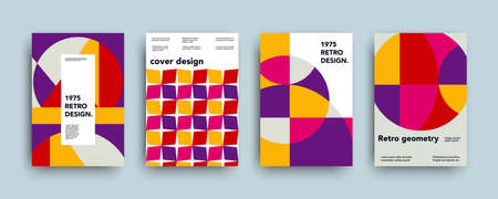 Vector swiss trendy geometry covers collection. Modern colorful retro abstract geometric banners set. Minimal creative templates design. Poster background composition. Stock Illustratie
