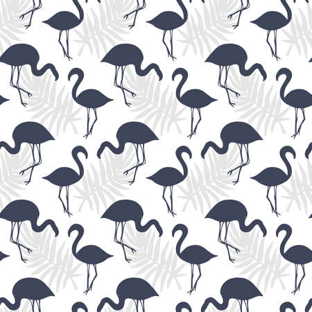 Flamingo Birds Seamless pattern. Tropical Background. Vector illustration