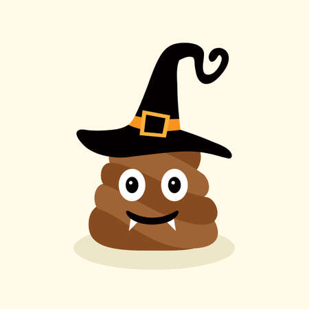 Halloween funny poop. Emotional shit icons Illustration