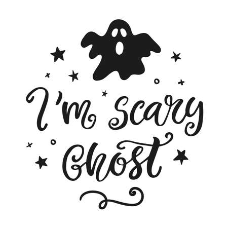 Im scary ghost. Halloween Party Poster with Handwritten Ink Lettering