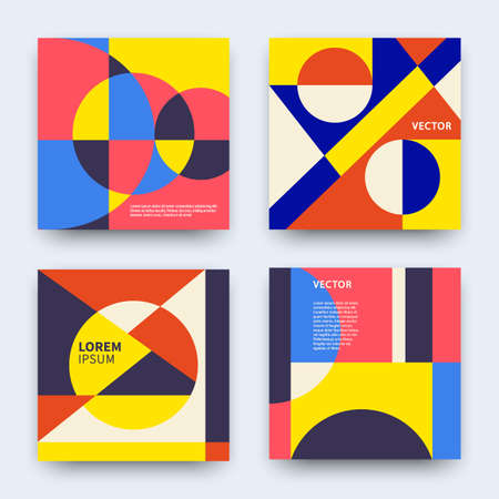 Vector trendy abstract geometry covers collection. Modern colorful retro geometric banners set. Minimal creative templates design. Poster background composition. Stock Illustratie