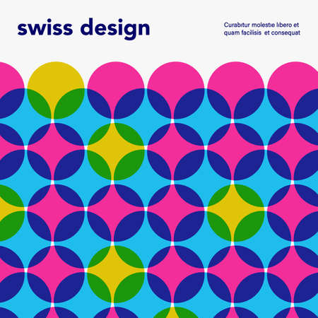 Swiss minimalistic poster. Retro colorful abstract geometric artwork cover Reklamní fotografie - 106544585