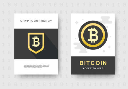 Bitcoin web banners set. Cryptocurrency logo sigh