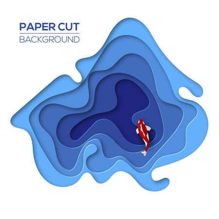 Modern 3d paper cut art design template with cartoon abstract water waves and red fish. Creative background for banner, presentation and poster. Bright blue gradient colors. Vector illustration