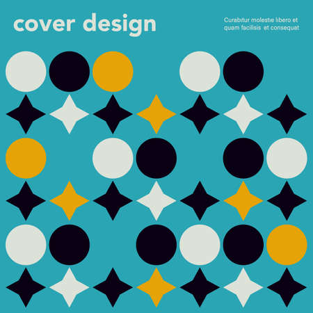 Swiss minimalistic poster. Retro colorful abstract geometric artwork cover Ilustrace