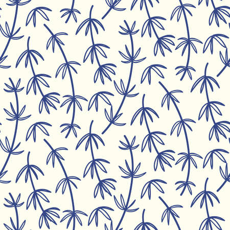 Hand drawn bamboo floral seamless pattern. Japanese, Chinese asian nature textile print. Oriental ornament background. Vector illustration