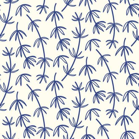 Reticolo senza giunte floreale di bambù disegnato a mano. Stampa tessile natura asiatica giapponese e cinese. Priorità bassa orientale dell'ornamento. Illustrazione vettoriale