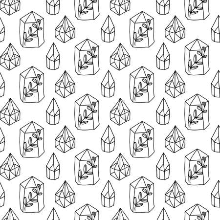 Crystals Gem Magic seamless pattern. Diamonds vector background. Magical fairytale elements.  イラスト・ベクター素材