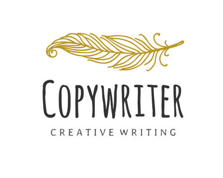 Copywriter vector logo. Writer quill logotype