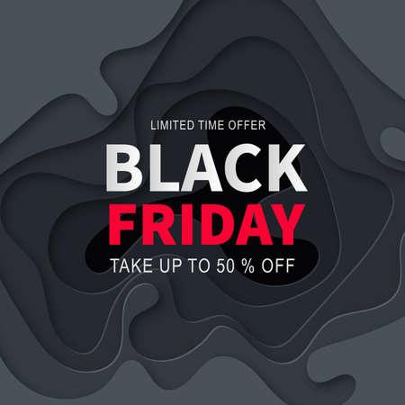 Black Friday Sale Banner Design Template. Advertising web poster. Modern 3d paper cut background. Vector illustration.