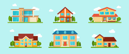 Modern cottage house set. Real Estate concept. Flat Style American or Sweden Townhouse. Vector illustration