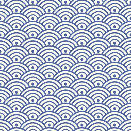 Japanese, Chinese traditional asian blue wave seamless pattern. Oriental ornament background. Vector illustration Çizim