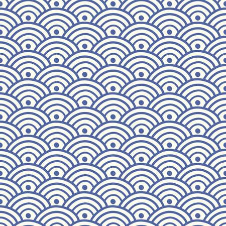Modello senza cuciture dell'onda blu asiatica tradizionale giapponese, cinese. Sfondo ornamento orientale. Illustrazione vettoriale Vettoriali
