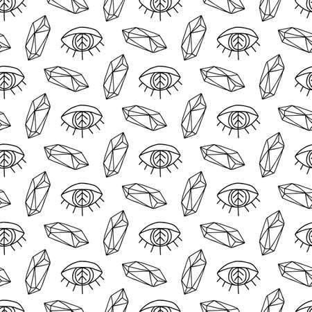 Crystals Gems and eyes magic seamless pattern. Diamonds vector background. Magical fairytale elements.