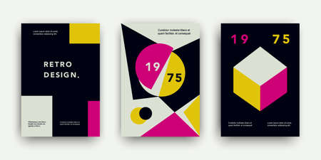 Retro cover templates collection. Swiss trendy fashion backgrounds set with geometric shapes. Modern  vector illustration. Minimal creative poster, web banner, invitation, magazine, flyer design.