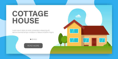 Modern cottage house. Web page design template. Real Estate concept. Flat Style American or Sweden Townhouse. Vector illustration Standard-Bild - 109722787
