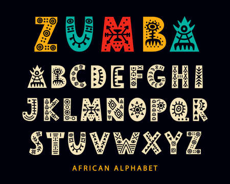 Vector Hand drawn African Tribal Font. Folk Scandinavian Script. English Ethnic Alphabet. Decorative ABC Letters Set. Typeface Design.  イラスト・ベクター素材