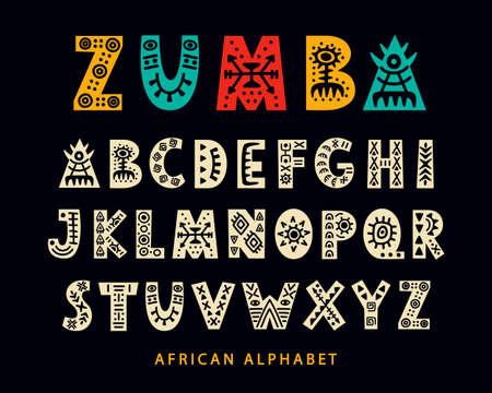 Police tribale africaine dessinée à la main de vecteur. Script scandinave folk. Alphabet ethnique anglais. Jeu de lettres ABC décoratives. Conception de caractères. Vecteurs