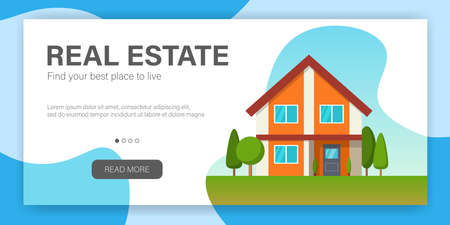 Real Estate concept. Web page design template. Modern cottage house. Flat Style American or Sweden Townhouse. Vector illustration Standard-Bild - 108893743