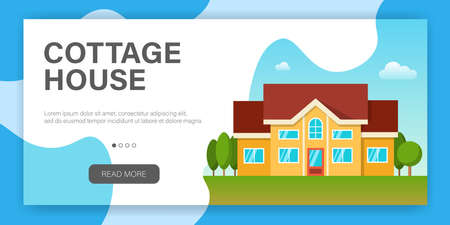 Modern cottage house. Web page design template. Real Estate concept. Flat Style American or Sweden Townhouse. Vector illustration Standard-Bild - 109678255
