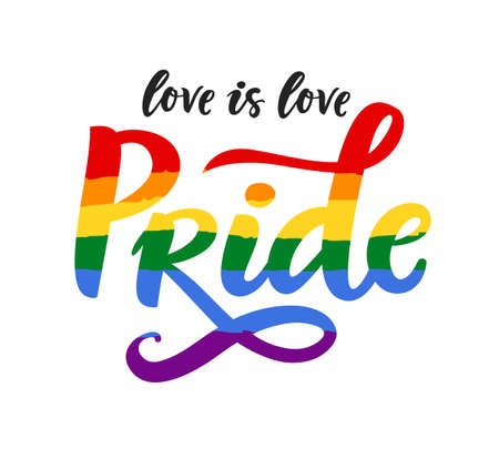 Gay Pride poster rainbow spectrum flag, homosexuality, equality emblem in retro style. Love is love. LGBT rights concept. Parades announcement banner, placard, invitation card design