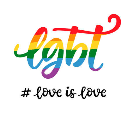 Gay hand written lettering poster. LGBT rights concept