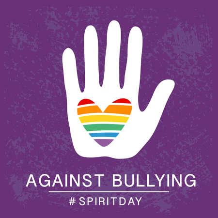 Spirit day violet, paarse kleur poster, met regenboog hart in de hand. Tegen pesten.