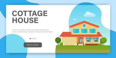 Modern cottage house. Web page design template. Real Estate concept. Flat Style American or Sweden Townhouse. Vector illustration Standard-Bild - 109662863