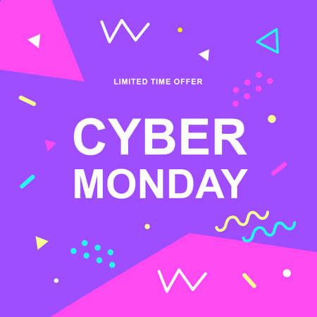 Banner web di vettore di vendita di Cyber Monday