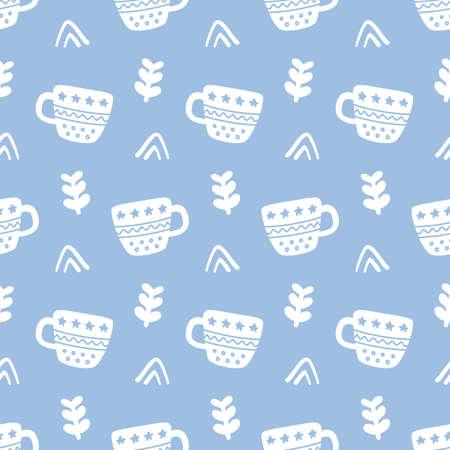Winter decorative tea cups doodles seamless pattern
