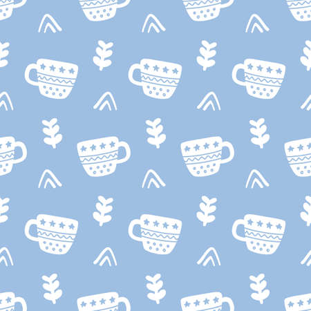 Winter decorative tea cups doodles seamless pattern
