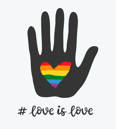 Gay poster with rainbow heart in hand. LGBT rights concept
