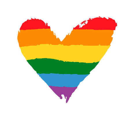 Gay, Lesbian community pride poster with rainbow flag heart. LGBT rights concept