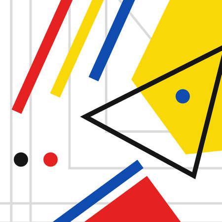 Retro geometric bauhaus, swiss, memphis cover template background
