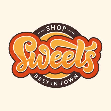 Sweets Shop-Logo-Etikett. Designvorlage für Schokoriegel-Emblem
