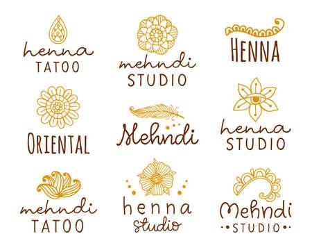 Vector henna mehndi logo set