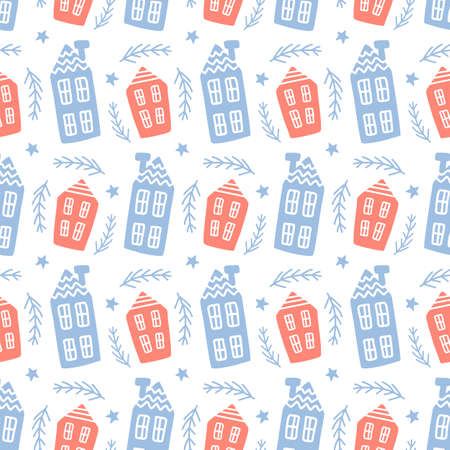 Scandinavian houses nordic seamless pattern