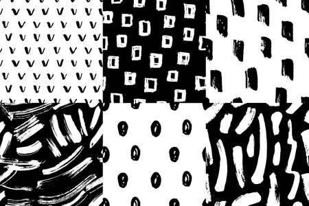 Vector seamless pattern set. Abstract hand drawn grunge ink textures Banco de Imagens