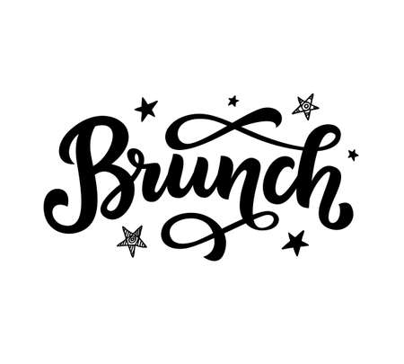 Brunch calligraphy vector logo badge