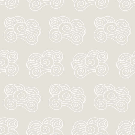 Clouds, waves seamless pattern. Japanese, Chinese traditional ornament background. Vector illustration