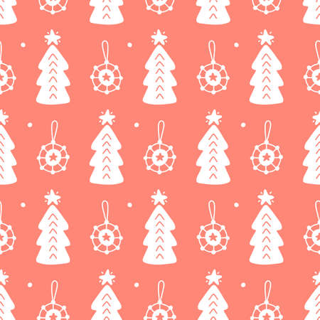 Scandinavian Christmas Forest hand drawn doodles seamless pattern. Congratulation card design, wrapping paper, textile print. Vector illustration. Иллюстрация