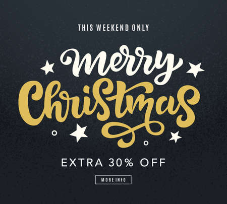 Merry Christmas sale web banner template. Holidays promo offer. Seasonal discount poster. Winter shopping background. Hand drawn vector typographic design with modern calligraphy.