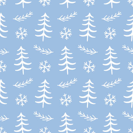 Winter forest tree doodles seamless pattern. Scandinavian Christmas style. Congratulation card, wrapping paper background, festive banner, poster design. Vector illustration. Иллюстрация